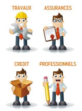 crédit, assurances, travaux, services et professionnels
