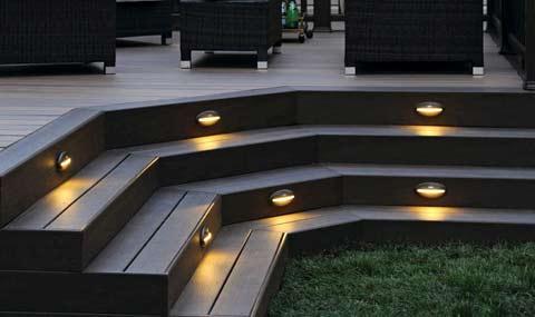 éclairage des marches de la terrasse