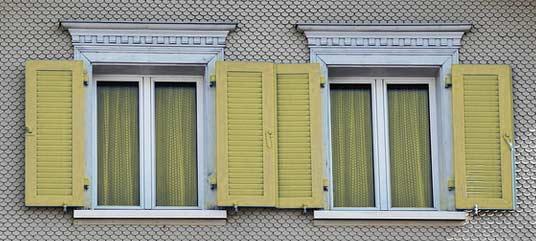fenêtres et volets verts