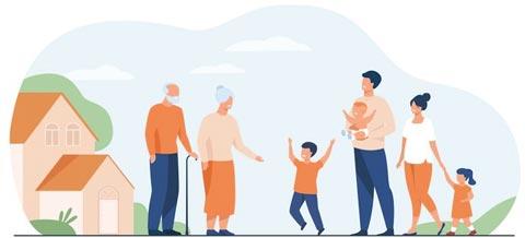 famille : grands-parents, parents et enfants