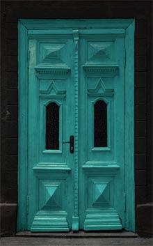 exemple de porte d'entrée peinte en bleu