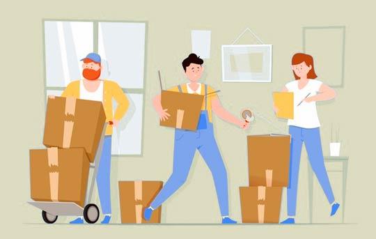 visue du déménagement d'une maison